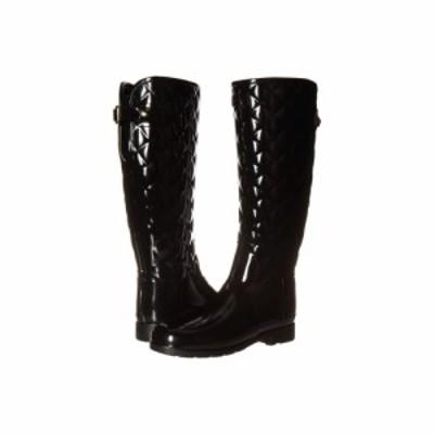 ハンター Hunter レディース レインシューズ・長靴 シューズ・靴 Refined Gloss Quilt Tall Rain Boots Black