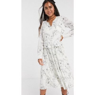 ワイ エー エス Y.A.S レディース ワンピース ミドル丈 ワンピース・ドレス midi smock dress in white with abstract print ホワイト