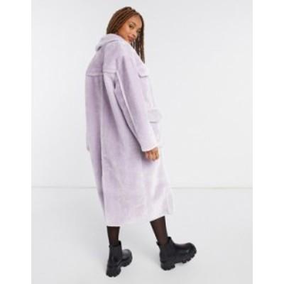 エイソス レディース ジャケット・ブルゾン アウター ASOS DESIGN longline bonded faux shearling shacket in lilac Lilac