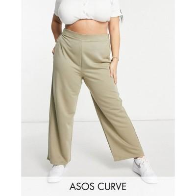 エイソス ASOS Curve レディース スウェット・ジャージ ワイドパンツ ASOS DESIGN Curve jersey suit wide dad track pant in moss モスグリーン