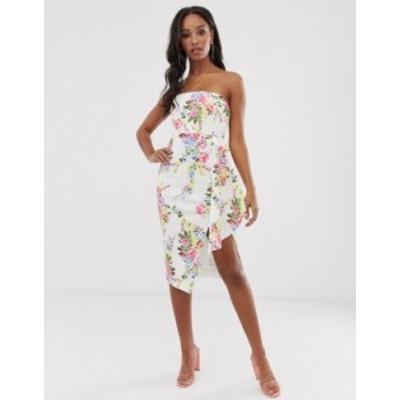 エイソス レディース ワンピース トップス ASOS DESIGN Floral bandeau fold midi dress Ivory