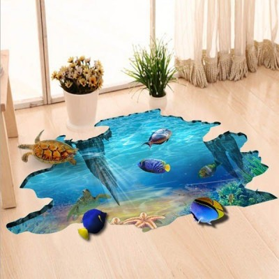 床用 ウォールステッカー 地面の穴 海底 熱帯魚 海 だまし絵 トリックアート インテリアシール 壁デコ 北欧風 DIY リビング