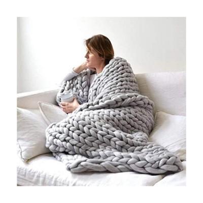 "ERLYEEN Chunky Knit Blanket Merino Wool Hand Made Throw Boho Bedroom Home Decor Giant Yarn,Grey,40""x80""【並行輸入品】"