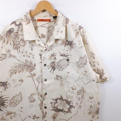 古着 大きいサイズ AXIS シルク混紡 半袖オープンカラーシャツ 開襟シャツ メンズ US-XLサイズ ボタニカル柄 ベージュ系 tn-0065n