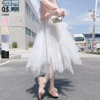 チュールスカート スカート ロング レディース aライン フレア チュチュ ひざ下丈 春 大人  春夏 【 ランダムカットチュールスカート 】