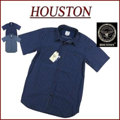 HOUSTON ヒューストン インディゴ シャンブレー 半袖 ウォバッシュストライプ ワークシャツ 40847