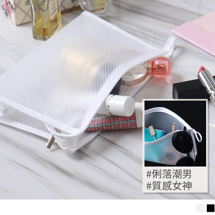 純色簡約大容量透明防水手提化妝包/收納包