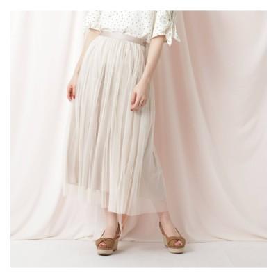 【クチュール ブローチ/Couture brooch】 【手洗い可】リバーシブルチュールロングスカート
