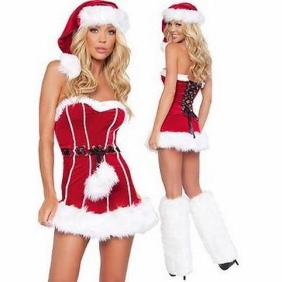 アトランティス サンタ 衣装 クリスマス衣装?サンタクロースコスチューム?女性用 帽子付き プリティーフードサンタED006F/代引不可