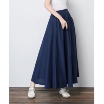 フレアスカート リネン ミモレ丈 大きいサイズ ゆったり Aライン ハイウエストスカート 春夏 黒 白 ネイビー グレー ブラウン グリーン