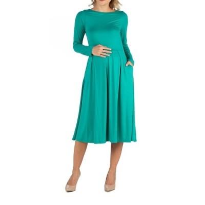 24セブンコンフォート ワンピース トップス レディース Midi Length Fit and Flare Pocket Maternity Dress Jade