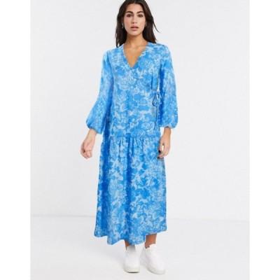 エイソス レディース ワンピース トップス ASOS DESIGN wrap smock maxi dress in blue floral