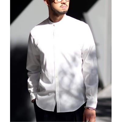 メンズ エディフィス ウォッシャブル レーヨンバンド シャツ ホワイト S