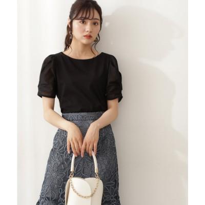 5分袖シアースリーブTシャツ ブラック