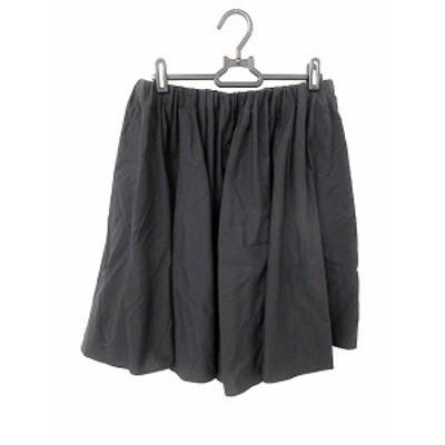【中古】マカフィー MACPHEE トゥモローランド スカート ギャザー ひざ丈 38 黒 ブラック /AKK32 レディース