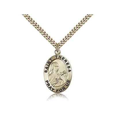 [新品]聖テレサペンダント - 金メッキ聖テレサペンダント 24インチのネックレス付き