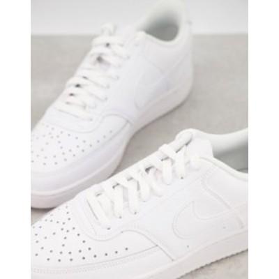 ナイキ メンズ スニーカー シューズ Nike Court Vision Low leather sneakers in triple white White