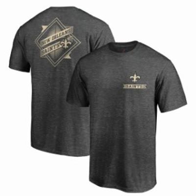 Majestic マジェスティック スポーツ用品  Majestic New Orleans Saints Heathered Charcoal Iconic Diamond Scroll T-Shirt