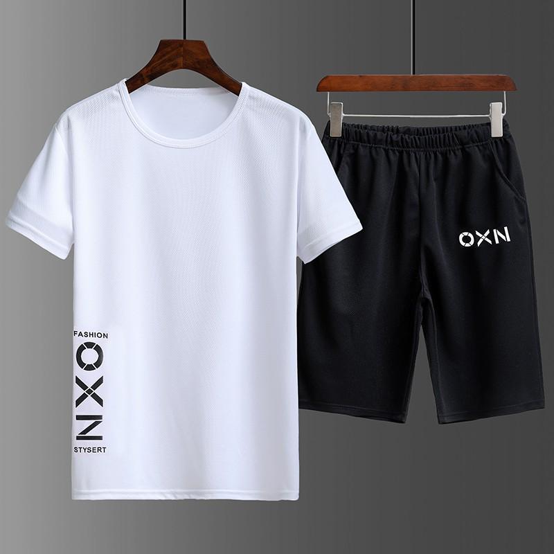 【HOT 本舖】M-3XL 兩件式 短袖套裝男 運動套裝 學生青年足球籃球訓練健身速乾衣男 跑步必備 休閒 寬鬆