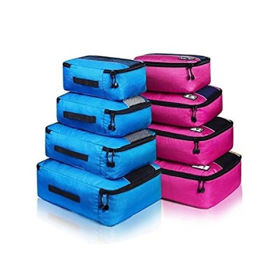 8 Set Packing Cubes, Travel Luggage Bags Organizers Mixed Color Set (Rose B