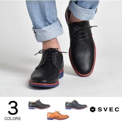 SVEC レースアップシューズ プレーントゥ メンズ カジュアル シューズ レースアップ 紐 靴 くつ ブラック ネイビー ブラウン 黒紺茶 SVEC シュベック SPT012-1 ブラック 25.0cm メンズ