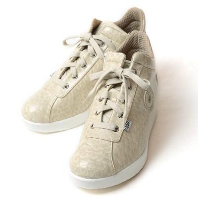 ルコライン スニーカー アージレ agile RUCO LINE 靴 Baby Croco ベビークロコ アイボリー色 /ホワイトソール agile-112IVWH サイドファスナー付き 数量限定品