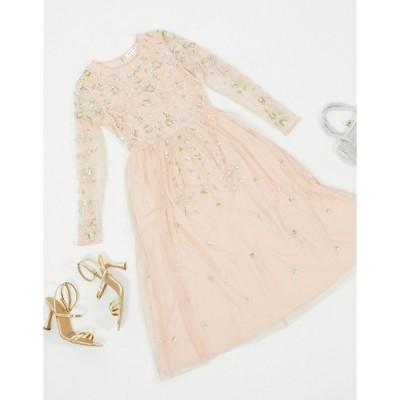 フロックアンドフリル ミディドレス レディース Frock & Frill embellished long sleeve midi dress in blush エイソス ASOS