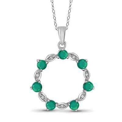 ジュエルオンファイヤー ジェムストーン Jewelonfire Sterling Silver Emerald Gemstone and White Diamond Accent Circle