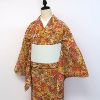 小紋 菊や牡丹、梅聡花柄 紅葉色 中古 美品 手縫い仕立て 正絹 黄土色 大きめ トールサイズ L