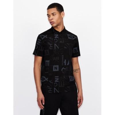 A X ARMANI EXCHANGE / 【A Xアルマーニ エクスチェンジ】ジオメトリックロゴデザイン 半袖ポロシャツ/REGULAR MEN トップス > ポロシャツ