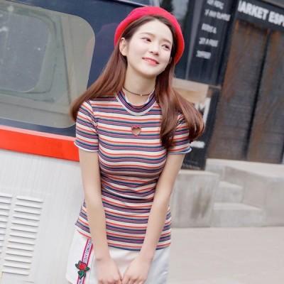 ハートホール Tシャツ トップス ボーダー カラフル カジュアル ガーリー 4サイズ Heart cut tops 半袖 カットソー