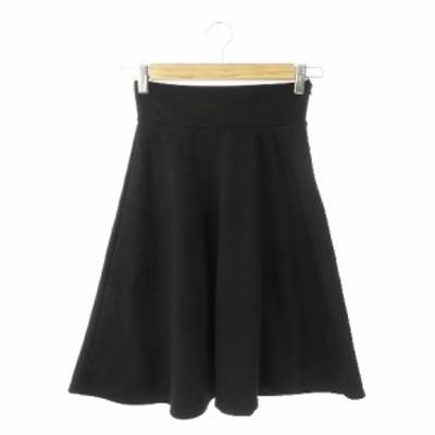 【中古】ナチュラルビューティーベーシック NATURAL BEAUTY BASIC スカート フレア ミニ ハイウエスト S 黒 ブラック