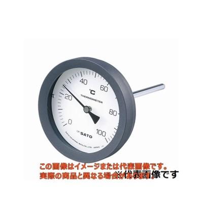 バイメタル温度計 50℃-L=100/2080-04【BM-T-100P-050100 佐藤計量器】