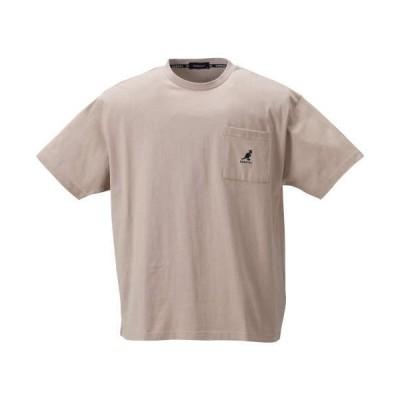大きいサイズ メンズ KANGOL 胸ポケット付ロゴプリント 半袖 Tシャツ ベージュ 1278-1520-3 3L 4L 5L 6L 8L