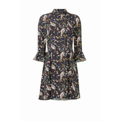 bell ベル ファッション ドレス Slate & Willow NEW Blue Womens Size 6 Bell Sleeve Floral Shirt Dress
