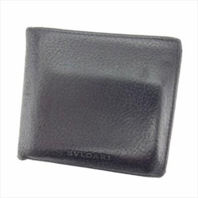 ブルガリ 二つ折り 財布 ロゴ ブラック BVLGARI 中古 T7294