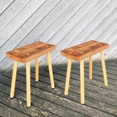 小国杉スツール 2脚セット 【阿蘇・小国郷】 無垢材 職人メイド 椅子