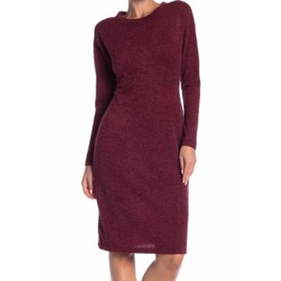 Red  ファッション ドレス Superfoxx NEW Wine Red Womens Size XS Solid Knit Mock-Neck Sweater Dress #777