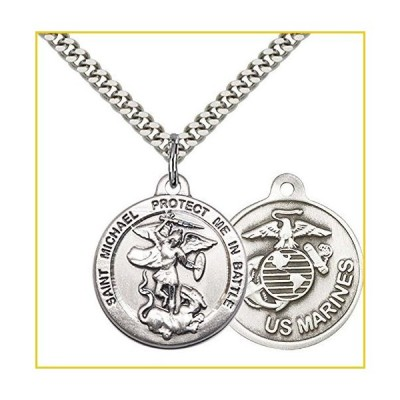 """F A Dumont Sterling シルバー St. Michael The Archangel ペンダント with 24"""" Stainless Steel Heavy Curb チェーン. Patron Saint of Police Officers/EMTs"""