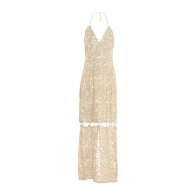 ELIE TAHARI ロングワンピース&ドレス プラチナ 14 ポリエステル 100% / シルク / メタリック繊維 ロングワンピース&ドレス