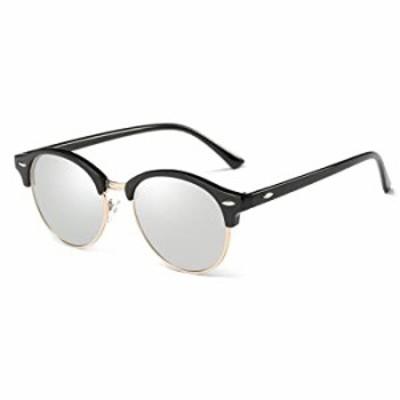 AZORB Polarized Round Sunglasses Unisex Semi-Rimless Horn Rimmed (Black/Silver Mirrored, 51)