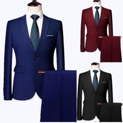 春 就職 suit スーツ 背広 紳士服 細身 シングル 2ボタン 3カラー おしゃれ 3点セット ビジネス 【M~6XL