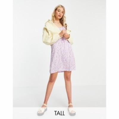 ピーシーズ Pieces Tall レディース ワンピース シフトドレス ミニ丈 ワンピース・ドレス exclusive mini shift dress in lilac floral