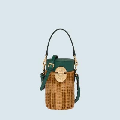 ミュウミュウ MIU MIU バッグ バック トートバッグ ショルダーバッグ グリーン ベージュ ゴールド ウィッカー レザー