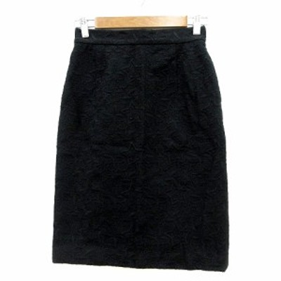 【中古】ケイタマルヤマ KEITA MARUYAMA タイトスカート ミモレ ロング 刺繍 ウール 1 黒 ブラック /MN レディース