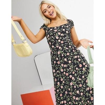 ミスセルフフリッジ レディース ワンピース トップス Miss Selfridge floral print lace-up back midi dress in black