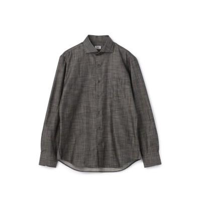 【メンズビギ】 ホリゾンタルカラーシャンブレーシャツ/コットン100% メンズ グレー M Men's Bigi