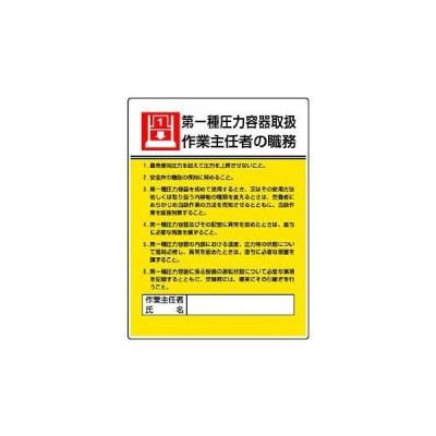 作業主任者職務板 ユニット 808-07 第一種圧力容器取扱
