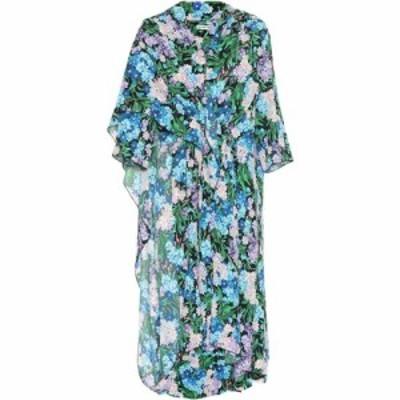 バレンシアガ Balenciaga レディース ワンピース ワンピース・ドレス Floral-printed crepe dress Blue/Lilac