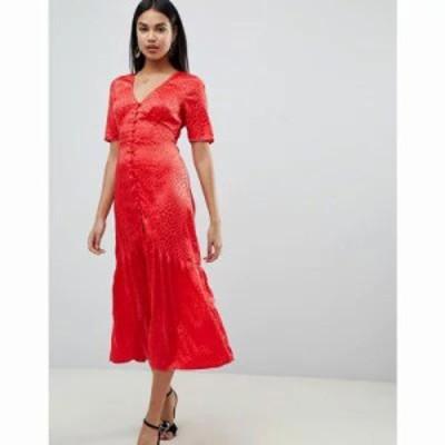 エイソス ワンピース button through maxi tea dress in jacquard Red